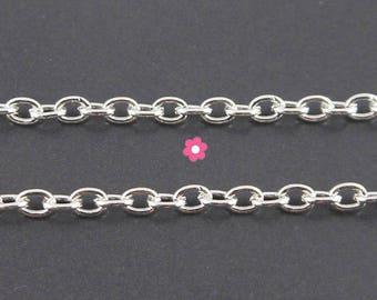 x1m chain bright silver mesh oval 3 x 2.5 mm (A 08)