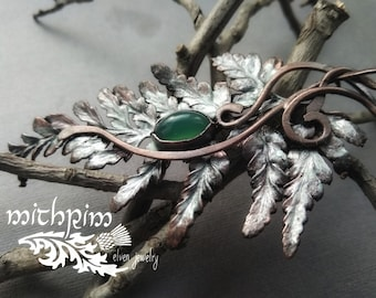 Silvery green fern pendant copper leaf necklace Copper pendant with green stone natural fern leaf Electroforming jewelry enamel art nouveau