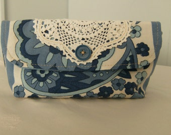 Blue Clutch, Paisley Clutch, Cloth Clutch, Fabric Clutch, Upcycled Clutch, Lined Clutch, Cloth Purse, Fabric Purse, Mini Clutch