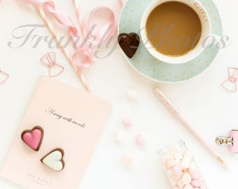 Instagram Square / Mint Green & Pink Lifestyle Stock Image / Styled Stock Photography / Stock Photo / Flatlay / Frankly Photos File #40sq