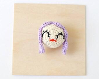 Purple Hair Girl Crochet Brooch   OOAK Handmade Crochet Pin, Girl Brooch, Handmade Brooch, Girl Pin Flair, Crochet Flair, Girlfriend Gift