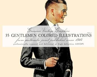 DIGITAL DOWNLOAD 35 Vintage Gentlemen Colored Illustrations Volume 3 (1914-1921)