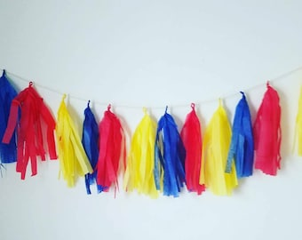 Circus party tissue paper tassel garland ,superman party, carnival birthday decor carnival party circus birthday decor,red,yellow,blue decor