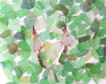 Copper and Sea Glass Earrings - Pendant earrings