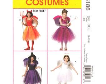 Girls Costume Pattern McCalls 6186 Dancer TuTu Top Wings Sew Free Pattern Girls Size 3 to 6 UNCUT