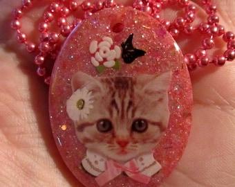 Kitty Cat Necklace-Kitten Jewelry-Handmade Resin Pendant Jewelry
