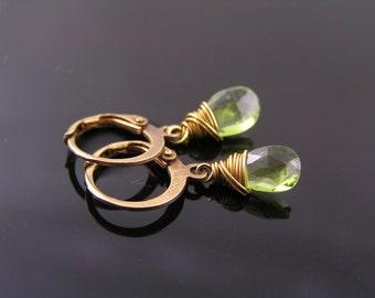 Peridot Earrings, Peridot Hoop Earrings, Peridot Jewelry, August Birthstone Earrings, Leo Star Sign Gemstone Earrings, Green Earrings, E2097