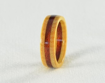 Wood Ring - Pau Amarillo and Bloodwood Wood Ring - Wedding Ring, Wedding Band, Engagement Ring - All Natural - Handmade