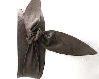 Dark Taupe Brown Leather Tulip Tie Obi Belt | Leather tie belt | Real Leather Belt| Handmade Corset Belt | Plus size belts