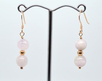 Pink Kunzite and Rose Gold Plated Sterling Silver 925 Hook Double Drop Earrings.