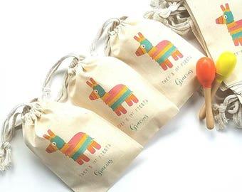 PINATA Party - Personalized Favor Bags - Set of 10 - Birthday - FIESTA - Mexico - Cactus - Cinco de Mayo