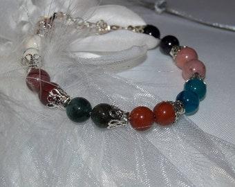 Green aventurine pearl bracelet or multicolored