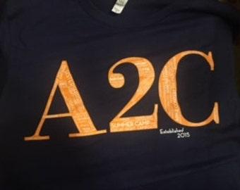 A2C Word shirt (navy/orange)