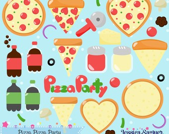 INSTANT DOWNLOAD, pizza clipart and pizza party vectors for crafts and products
