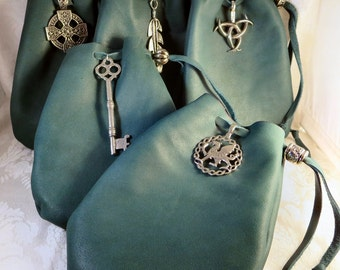 Green Leather Drawstring Pouch Pewter Accent / Medieval Renaissance Pouch /LARP SCA Fantasy /Crystal Rune Dice Bag / Celtic Leather Bag