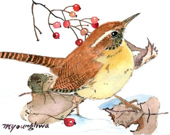 ACEO Limited Edition 3/25 - Wren in winter forest, in watercolor