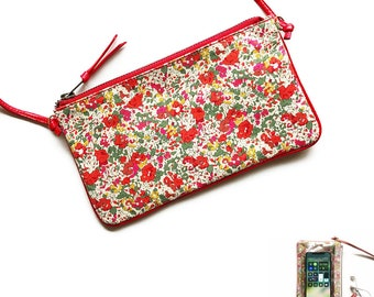 Phone Crossbody Sling Bag, Travel Cell Phone Purse, Fits Passport, iPhone Sling Bag,  Liberty of London  Clair Aude (Pink)