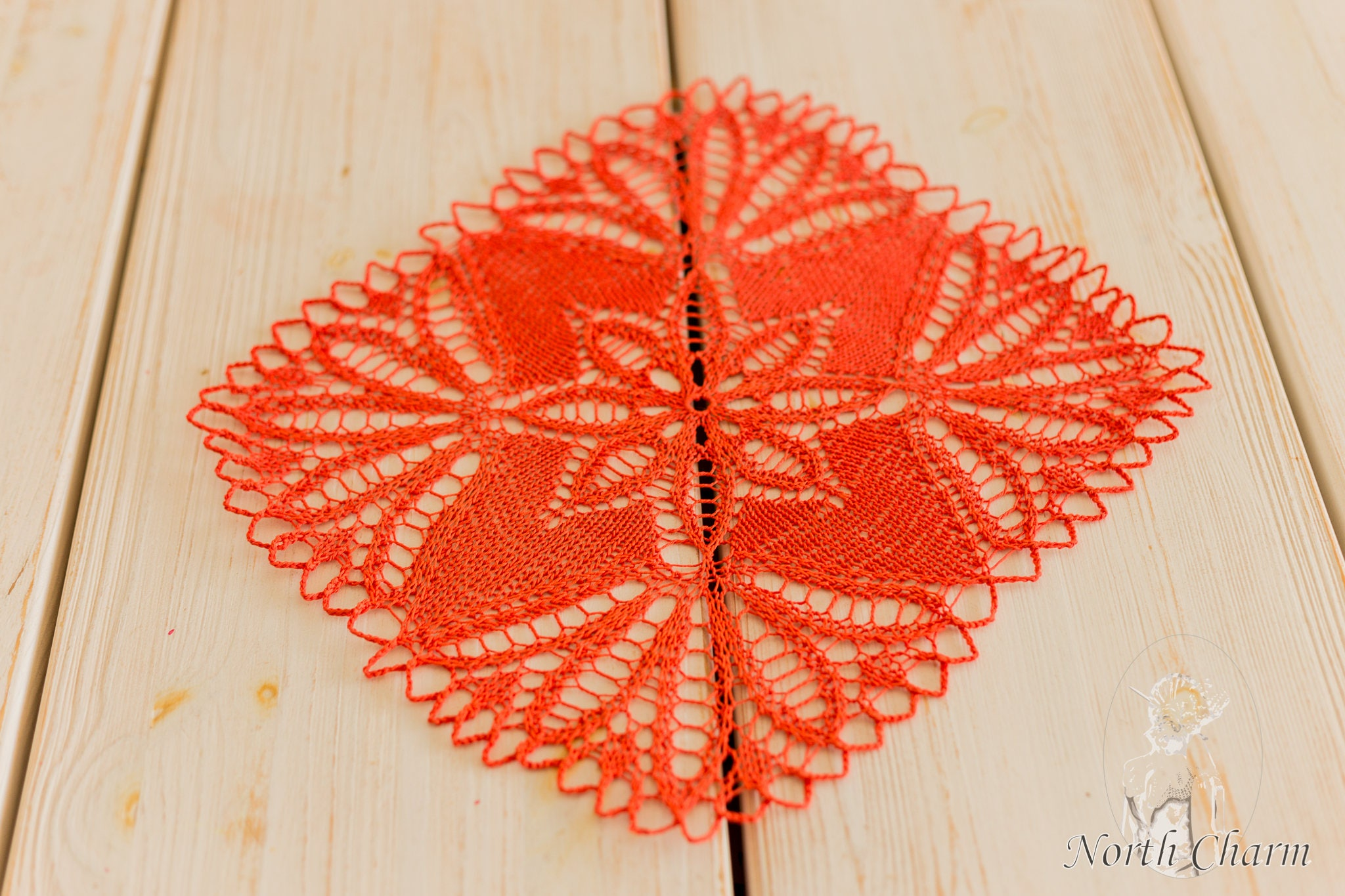 KNITTING PATTERN: Red Knitted Lace Table Topper / Knitted Table ...
