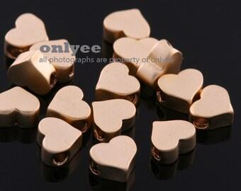 4pcs-5mm Matt Gold plated over Brass Tiny heart beads, love beads, heart spacers Charm/Connector(K587G)