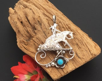 Reining Horse silhouette pendant with a turquoise Wildflower, sterling  silver/ Artisan Handmade and Hand engraved, P3
