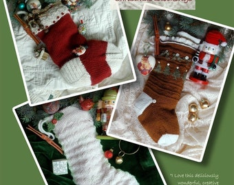 Christmas Stocking Knitting Patterns Instant PDF DOWNLOAD Decoration Photo Prop Gift Idea