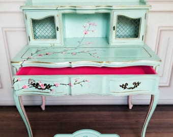 Vintage French Provincial Desk. Cherry Blossom Pink Flowers. Gold, Turquoise, Curvy Vanity. Princess. Luxurious.