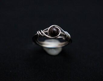 Unique garnet ring garnet wire wrap ring bohemian rings