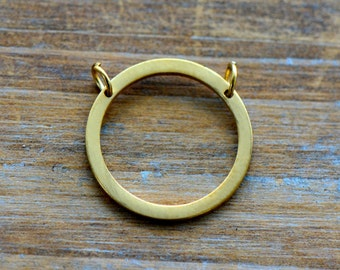 Circle Outline Geometric Charm Link Brushed 24k Gold Plated Stainless Steel Geometric Layered Charm Minimal Jewelry Pendant (AQ029)