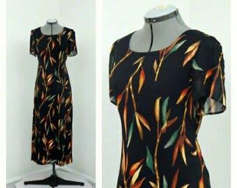 Vintage 90s Coldwater Creek Black Hawaiian Dress, Maxi Dress, Shift Dress, Keyhole Dress, Chiffon Dress, Bamboo Novelty Print Dress