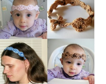 Crochet PDF Pattern: Wavy Headband Adult and Baby Sizes Mommy and Me