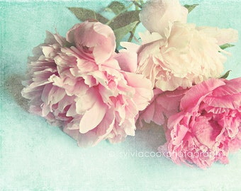 "Peony photograph ""Like Yesterday"" pink peonies, fine art print, floral photography, pink, aqua,shabby chic home decor,cottage decor"