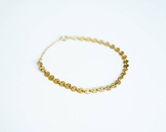 Gold Coin Chain Bracelet, 14k Gold Fill, Rose Gold Fill or Sterling Silver Circle Chain Bracelet, Dainty Bracelet, Gift for Her