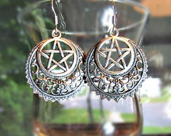 Crescent Pentacle Earrings, Sterling Plated Filigree Crescent, Wiccan Earrings, Crescent Dangle