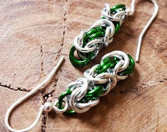 Woodland Elf - Chainmaille Earrings - Byzantine Weave