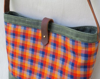Plaid Twill and Waxed Canvas Bag / Cross body / Leather