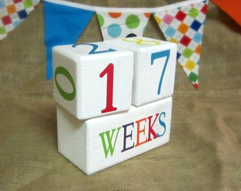 Weeks Pregnancy Count Up or Count Down Blocks - Baby Age Blocks