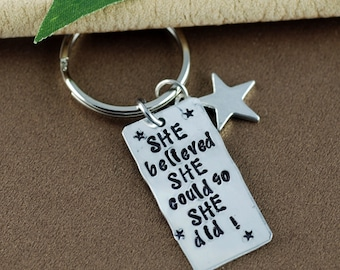 She believed she Could so She did Keychain | Personalized Graduation Keychain | Gift for Graduate | Pewter Keychain | Custom Keychain
