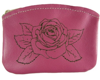 Engraved Pink Rose Zippered Coin Pouch Made in the USA, Pink