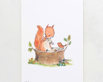 Woodland nursery Art, forest art, Squirrel Tea, giclée print, Kit Chase artwork, 5x7, 8x10, 11x14