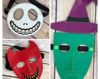 Kids Nightmare Masks inspired by Lock, Shock and Barrel. The Nightmare Before Christmas. Kids Size