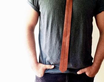 Handmade Leather Tie, Boyfriend gift, Perforated Leather Tie, Leather Bolo Tie, Casual Tie, Gift for him, Wedding tie, Cowboy Tie, Brown Tie