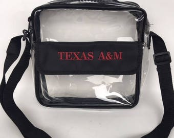 Texas A&M Aggies Embroidered Clear Stadium Cross-Body Hand-Bag Purse