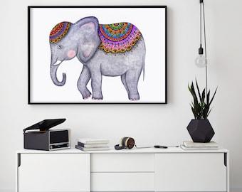 "Elephant - 8.3x11.7"" (A4) Art Print, Wall Decor, Illustration, Poster, Pens, Crayons, Pencils, Markers"