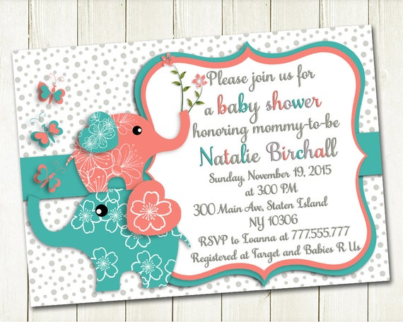 Coral turquoise elephant baby shower printable invitation baby like this item filmwisefo Choice Image