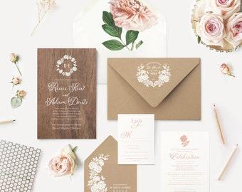 REAL WOOD Wedding Invitation | Blush Pink Peony Envelope Liner | Kraft Envelopes Wreath Logo White Ink Printing | Outdoor Greenery Weddings