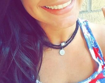 Monogrammed Double Layered Choker Necklace  Grad gift Birthday Summer