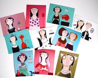 Art postcards in 10 Springtime-Set! Postcards.