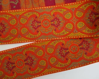 ESCARBUNCLE, 2 yards Jacquard trim in wine red, mustard, olive green, gold, on orange. 2 1/4 inch wide. 732(2)-C