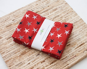 Large Cloth Napkins - Set of 4 - (N6247) - Red Stars Modern Reusable Fabric Napkins