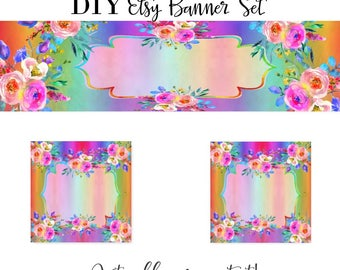 Diy banner kit etsy diy rainbow banner etsy rainbow rainbow graphics banner kit banner set solutioingenieria Image collections